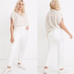Madewell High Rise Slim Crop Boyfriend White Jeans